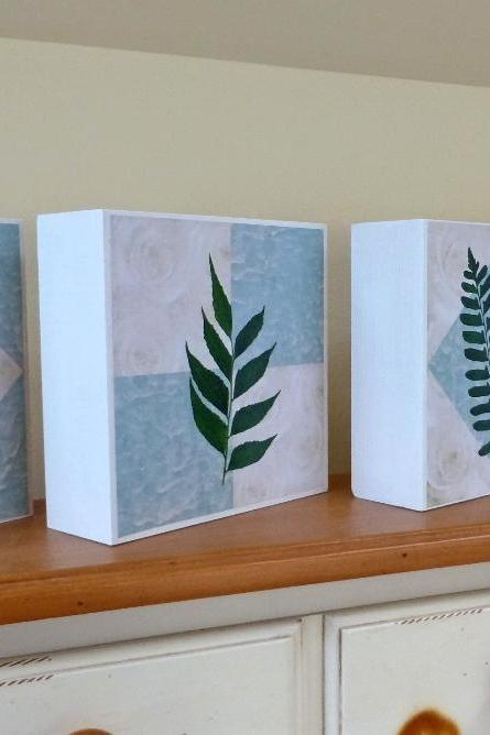 Art Blocks, Set of 4, Botanical Prints, Geometric Backgrounds, Aqua Blue and White, 6x6