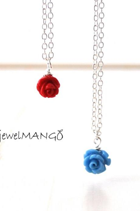 flower necklace Vintage style Jewelry skyblue, Red, Garden Rose Charm, small flower, rose charm necklace