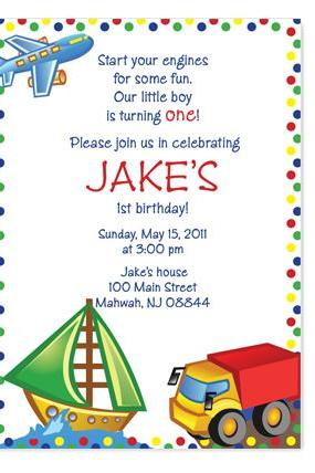 Transportation Birthday Invitation (Plane, Truck and Boat)