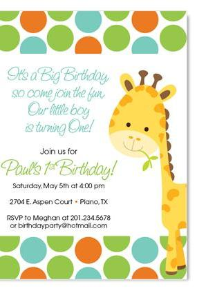 Giraffe Birthday / Baby Invitation - Custom Colors