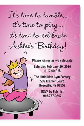 Gymnatics Tumbling Birthday Invitation