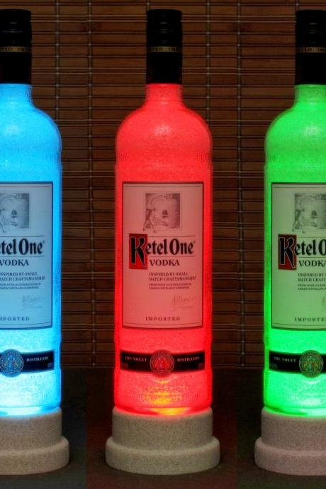 Ketel One Vodka Color Changing LED Remote Controlled Bottle Lamp/Bar Light Bodacious Bottles-