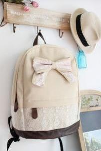 Beige Canvas Lace Backpack With Knot