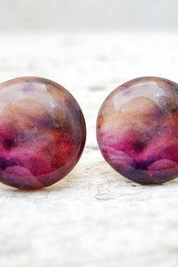Nebula Earrings Purple-Pink, Galaxy Ear Studs Posts