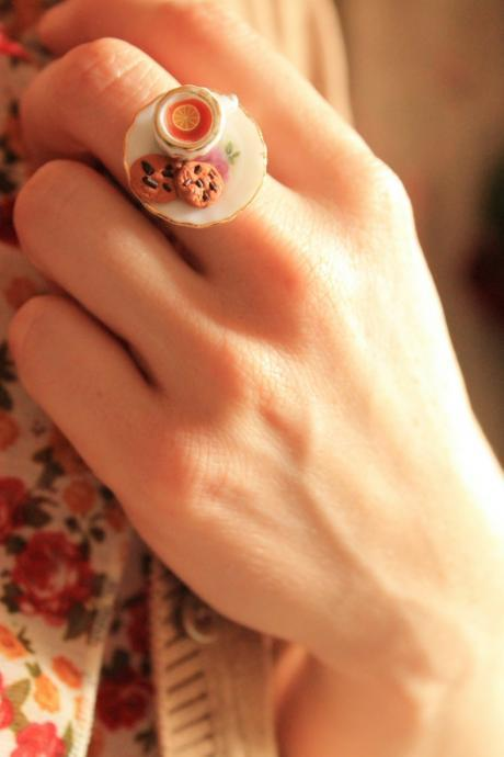 Teacup ring, miniature food ring, tea cup ring, kawaii food ring, mini food ring
