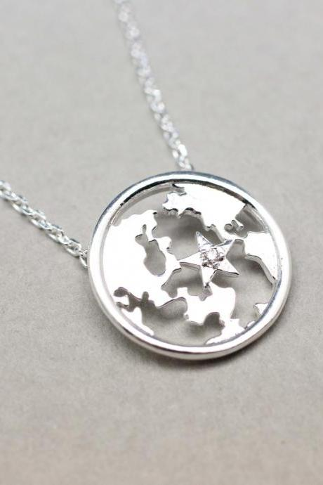 Earth Globe Pendant detailed with Cubic Zirconia Necklace in silver