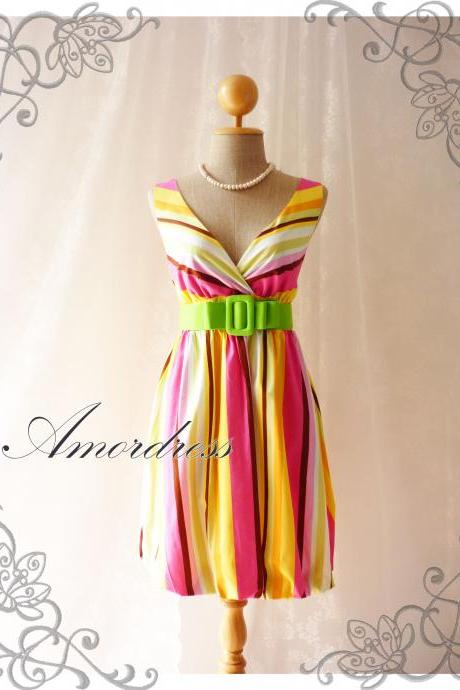 Rainbow Bright- Colorful Summer Dress Stripe Dress Party Popping Tea Dress Party Event Everyday Dress Pumpkin Hem Green Shade -S-M-