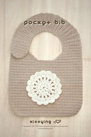 Pocket Bib Crochet PATTERN - Chart & Written Pattern By Kittying