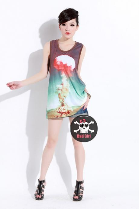 Cool Cloud Print Tank Tops