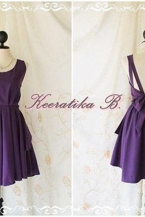 A Party - V Shape Style - Prom Party Cocktail Bridesmaid Dinner Wedding Night Dress Dusty Plum/Eggplant Color Glamorous Cocktail Dress