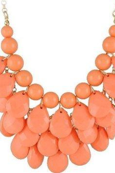 orange 3 row teardrop Statement Jewelry, Chunky Necklace, Bubble Necklace