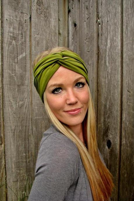 Vintage Turban Style Stretch Rayon Jersey Knit Headband in Moss Green - Multi Ways to Wear