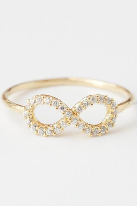 US Size 6.5 Simple Crystals INFINITY Ring In Gold