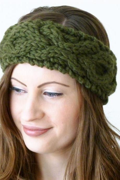 Cable xoxo headband handknitted - olive green - merino wool