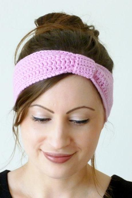 Crochet turban knot headband in pink