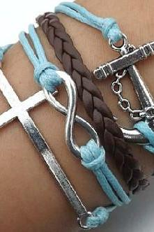 Multi Strap Anchor Cross Infinity Bracelet