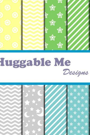 Digital Scrapbooking Paper Pastel Blue Green Yellow Gray Chevron Stars Stripes Dots for Baby Boy Scrapbook Invitation Cards 12x12 - HMD00040