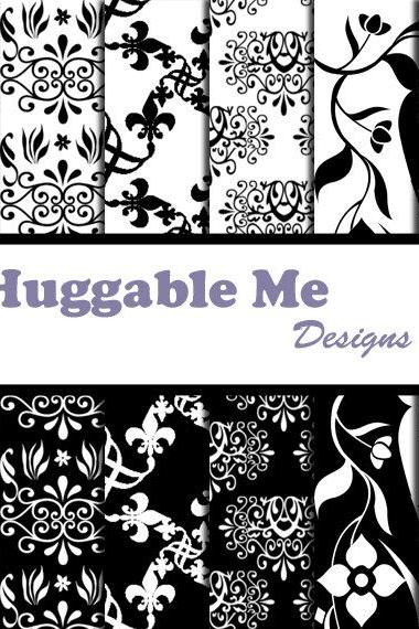 Digital Scrapbooking Paper Black and White Digital Paper for Wedding Scrapbook Backgrounds 12x12 - HMD00026