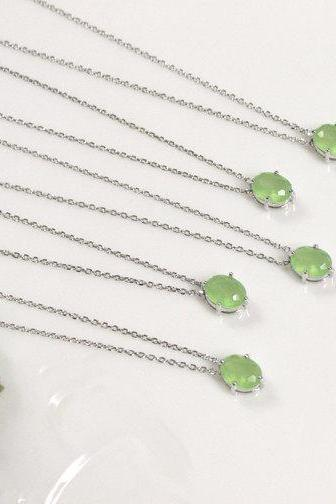 Bridesmaid gifts - Set of 5 - Green pendant necklace, apple green pendant necklace