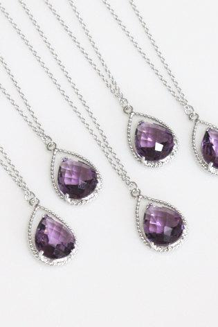 Bridesmaid gifts - Set of 5 - Amethyst purple crystal drop necklace, Gorgeous Drop ,stone in twisted bezel