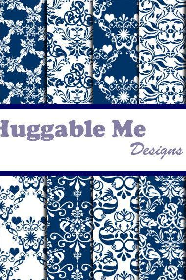 Digital Scrapbooking Paper Navy Blue Damask Digital Backgrounds for Wedding Scrapbook Invitation Cards 12x12 - HMD00035