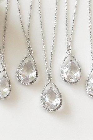 Bridesmaid gifts - Set of 5 - Clear crystal drop necklace, Gorgeous Drop ,stone in twisted bezel