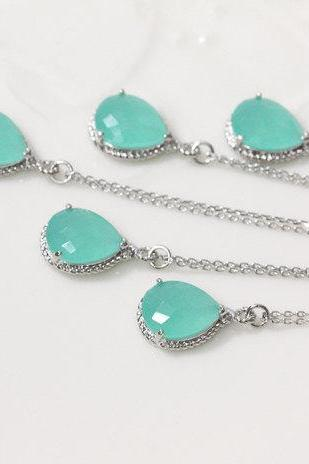 Bridesmaid gifts - Set of 5 - Mint crystal drop necklace, Gorgeous Drop ,stone in twisted bezelFrom ElliesButton