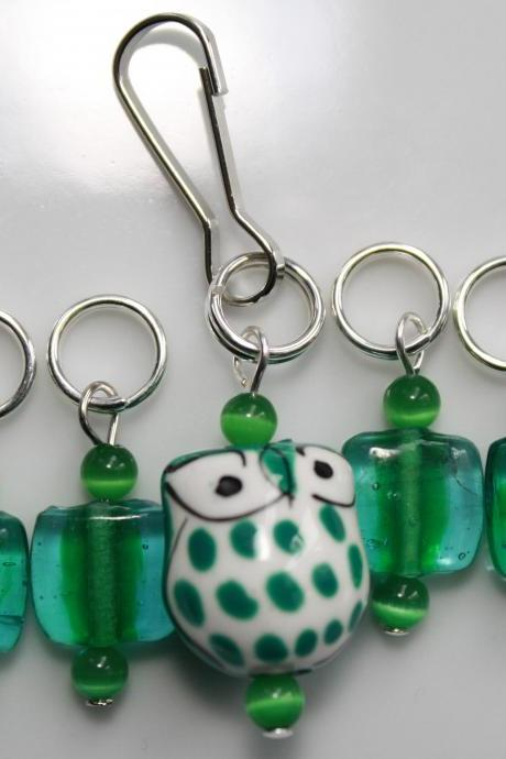 Green Owl Stitch Markers