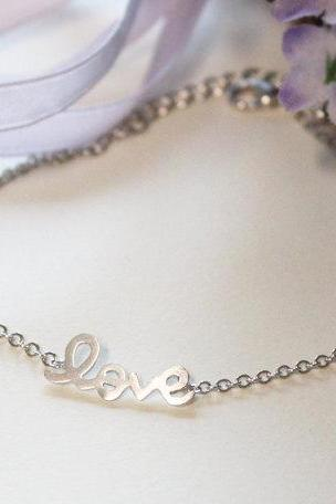 Bridesmaid gifts - Set of 5 - Love bracelet in white gold