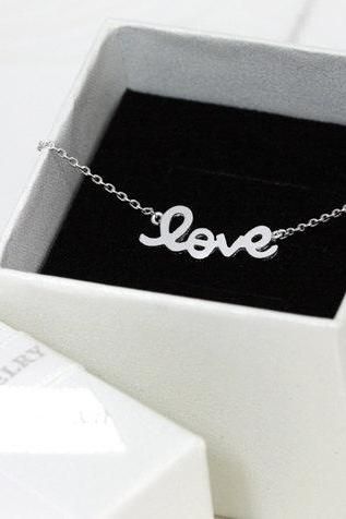 Bridesmaid gifts - Set of 5 - LOVE pendant necklace in white gold