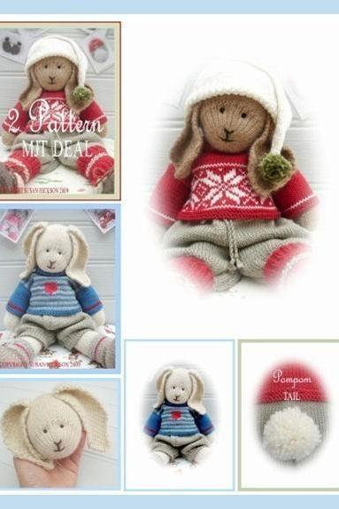Bo / Oscar/ Rabbits/ 2 Toy Pattern MJT Deal /Boy Bunnies / PDF Email Toy Knitting Patterns