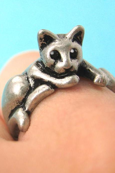Lazy Kitty Cat Animal Pet Wrap Around Hug Ring in Silver Sizes 4 to 9