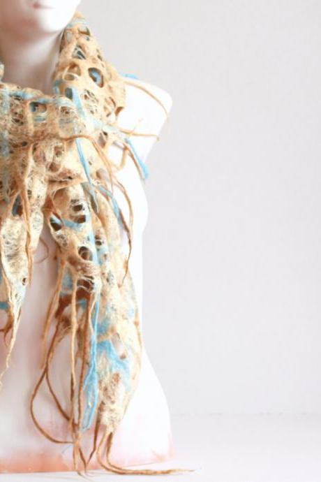 Women scarf - felted woll and silk blue beige scarf / shawl - cobweb scarf