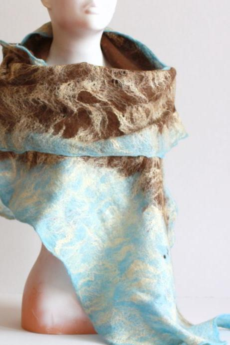 Women felted scarf cobweb felt wool silk shawl - brown blu