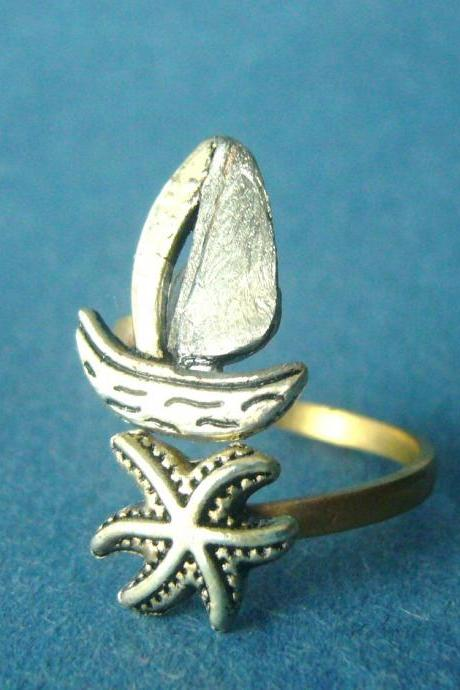 silver ship and shell wrap ring, adjustable ring, fish ring