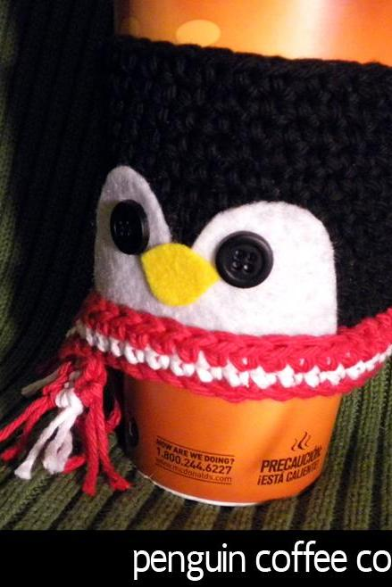 Penguin Coffee Cozy Pattern