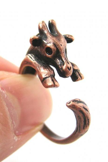 Baby Giraffe Animal Wrap Around Hug Ring in Copper - Sizes 4 to 9