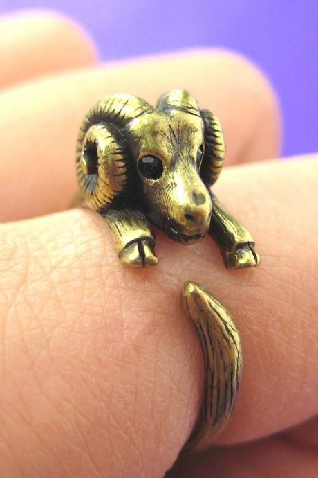 Realistic Sheep Ram Animal Wrap Around Hug Ring in Brass Sizes 4 to 9