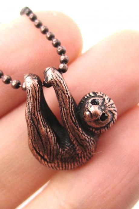 Realistic Baby Sloth Animal Charm Necklace in Copper