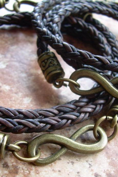His and Hers Set of Infinity Bracelets, Leather Bracelet, Mens, Womens, Triple Wrap, Antique Bronze, Natural Antique Brown Braided