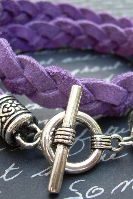 Purple Leather Bracelet, Flat Braided Suede