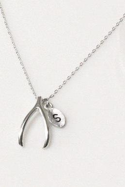 Personalized Wishbone Pendant Necklace With Leaf Initial Chain Necklace