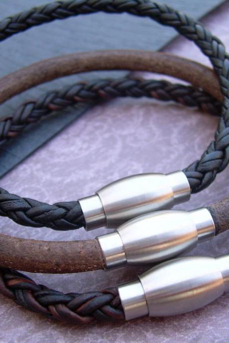 Mens Leather Bracelet with Stainless Steel Magnetic Clasp