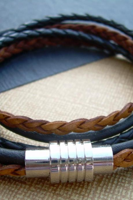 Mens Leather Bracelet, Triple Strand, Double Wrap with Stainless Steel Magnetic Clasp, Natural and Antique Black