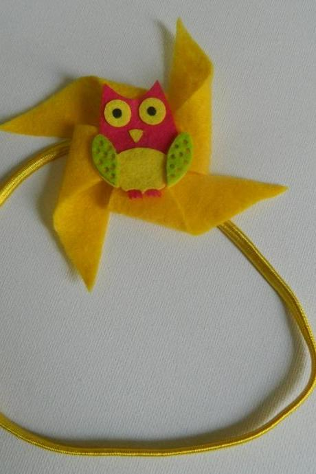 Yellow and Pink Owl Felt Pinwheel Headband