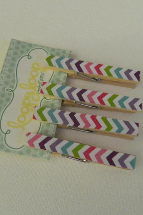 Set of 4 Pastel Chevron Clothespin Magnets