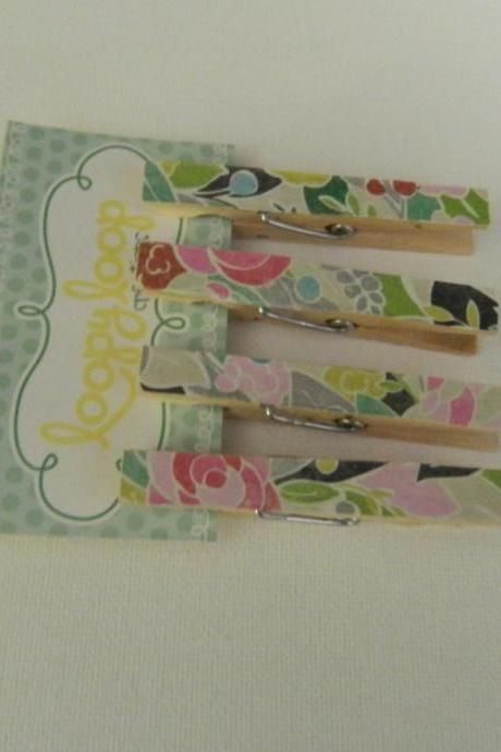 Set of 4 Multi Colored Rose Clothespin Magnets