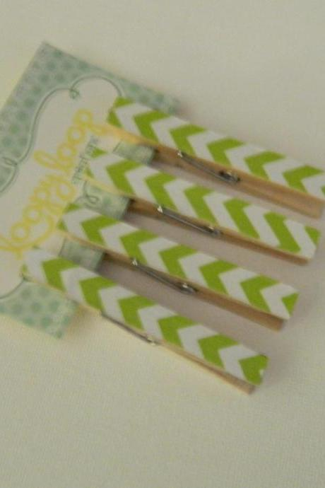 Set of 4 Green and White Chevron Clothespin Magnets