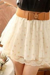 Nice Lace Wave Point Skirt