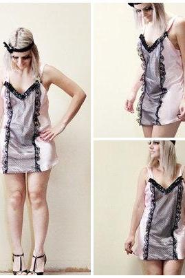 Flapper 1920s Vintage Slip Make Over Pink and Black Roaring 20s